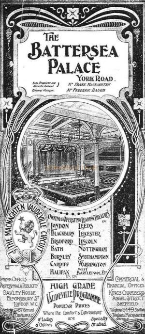 A Battersea Palace Music Hall Programme whilst under the ownership of The Macnaghten Vaudeville Circuit - Courtesy Peter Charlton.