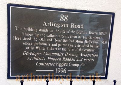 A Plaque situated at 88 Arlington Road commemorating to the various incarnations of the Bedford Theatre - Courtesy Martin Clark.