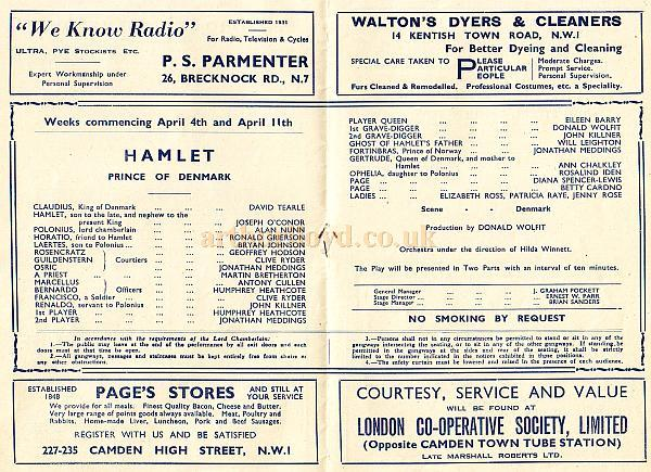 A Programme for a production of 'Hamlet' at the Bedford Theatre in April 1949.