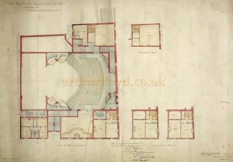 The architect's plan of the Bedford Theatre scanned from a short film about the Theatre's demolition in 1969.