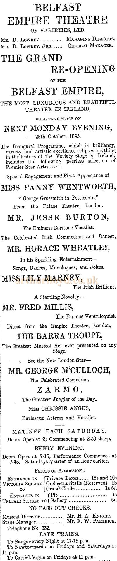 An advertisement carried in the ERA of the 25th of October 1895 publicising the Grand Reopening of the Empire Theatre, Belfast.