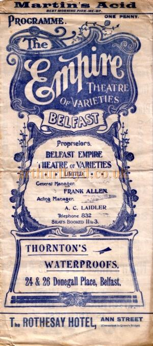 A variety programme for the Empire Theatre of Varieties, Belfast for 6th May 1911