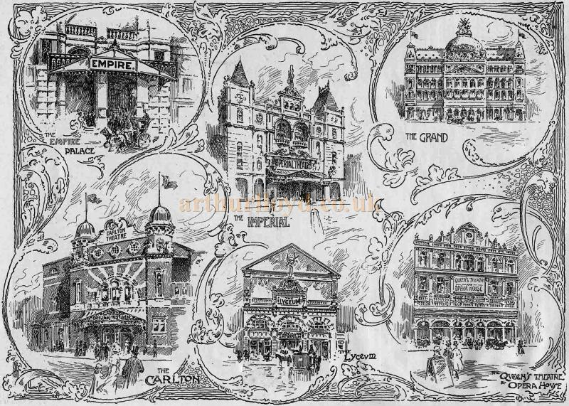 Several of Birmingham's Theatres from an illustration in the Playgoer of 1901 / 1902 - Courtesy Iain Wotherspoon.