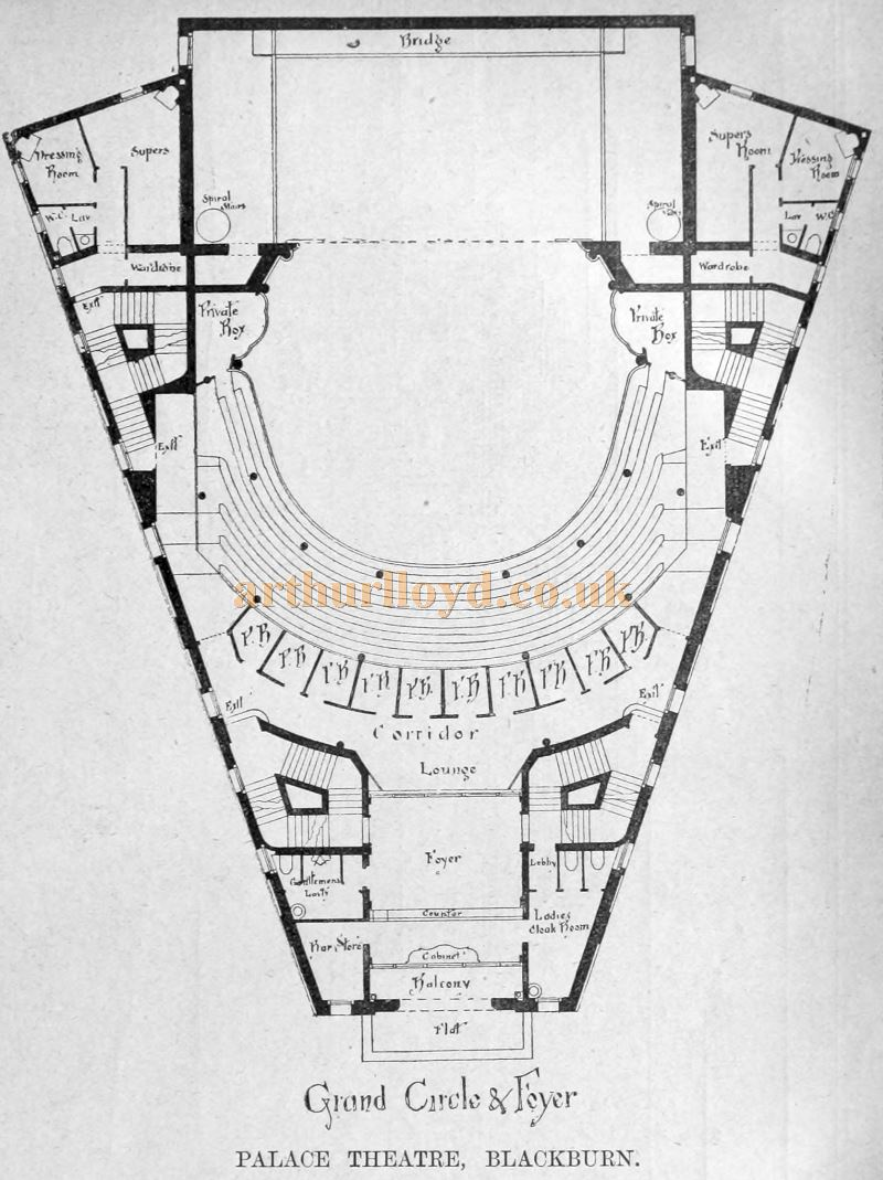 A Plan of the New Palace Theatre, Blackburn - From the Building News and Engineering Journal of September the 30th 1898.