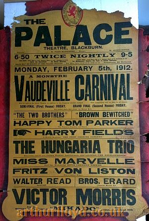 A Variety Bill for the Palace Theatre, Blackburn for Monday February 5th 1912 - Courtesy D Stevens, Horseheads, NY.