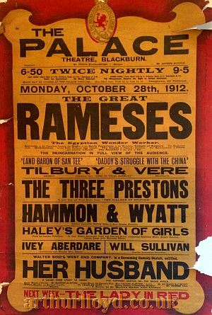 A Variety Bill for the Palace Theatre, Blackburn for Monday October 28th 1912 - Courtesy D Stevens, Horseheads, NY.