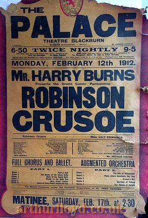 A Variety Bill for the Palace Theatre, Blackburn for Monday February 12th 1912 - Courtesy D Stevens, Horseheads, NY.