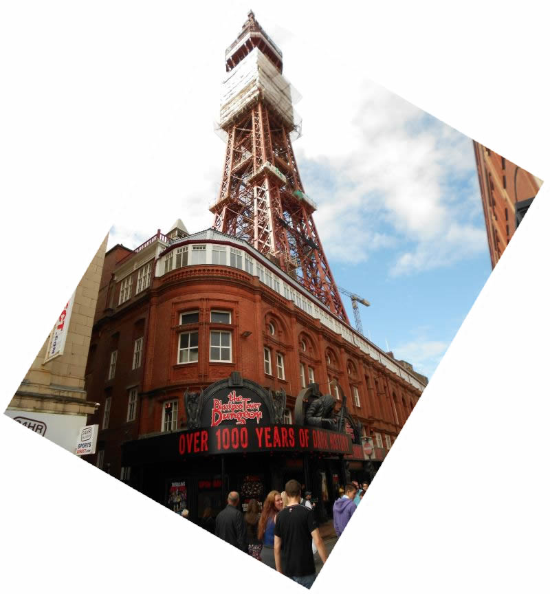 The Blackpool Tower, and entrance to the Tower Dungeons, formerly the Aquarium, during renovation works to the Tower in August 2012 - Photo M.L.
