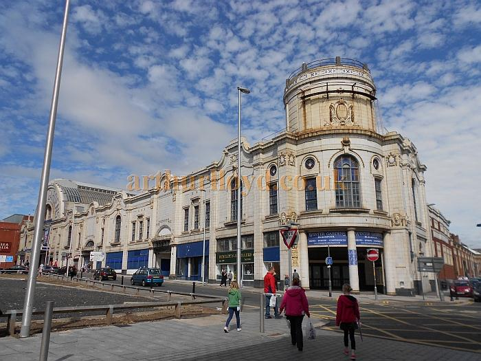 The Coronation Street and Adelaide Street entrance to the Olympia Hall, Blackpool, which is situated on the site of the former Ferris Wheel, and is now part of the Winter Gardens Complex - Photo M.L. August 2012.