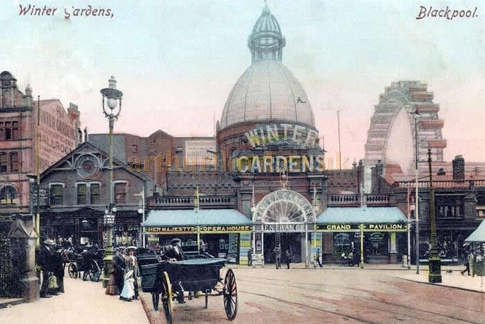An early postcard showing the Winter Gardens, Her Majesty's Opera House, and the Giant Ferris Wheel, Blackpool - Courtesy William Neale.