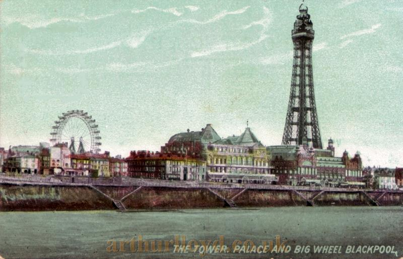 The Palace Complex, Tower Complex, and the Winter Gardens Giant Wheel, all in one period postcard.