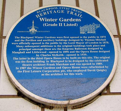 A Plaque celebrating the work of Frank Matcham and the Winter Gardens, Blackpool - Courtesy Philip Paine.