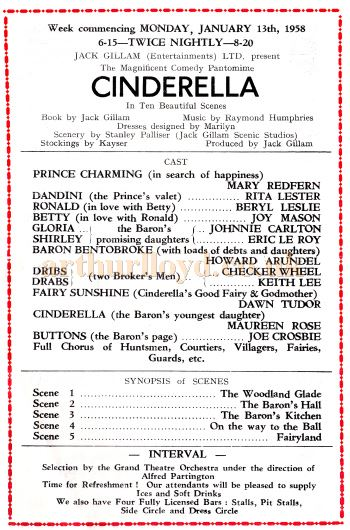 Cast Details from a programme for 'Cinderella' at the Grand Theatre, Bolton for the week commencing January 13th 1958 - Kindly Donated by Marguerite Isherwood.