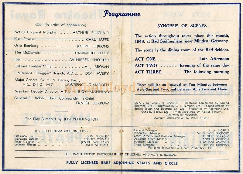 A Programme for 'Maiden's Prayer' at the Theatre Royal, Bolton in 1948/49 - Courtesy Michael Jaffé.