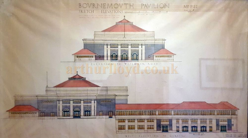 Architect's Elevations of the Bournemouth Pavilion displayed in the Theatre's foyer today.
