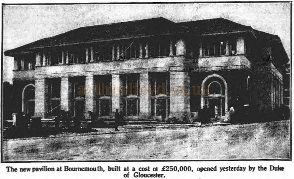 The new Pavilion at Bournemouth - From the Sheffield Independent, 20th March 1929.