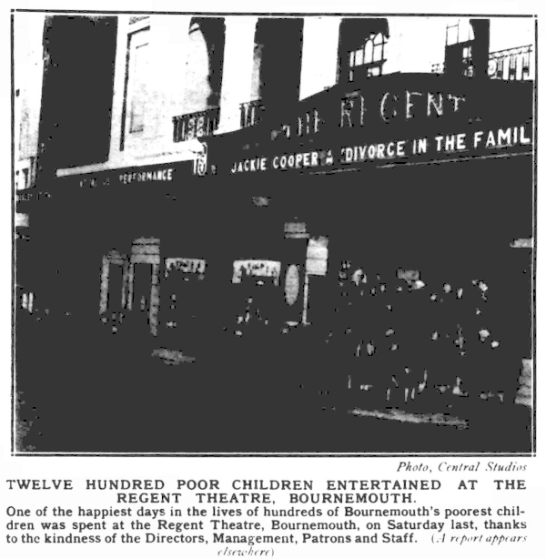 Twelve Hundred poor children entertained at the Regent Theatre, Bournemouth - From the Bournemouth and Southampton Graphic, 30th December 1932.