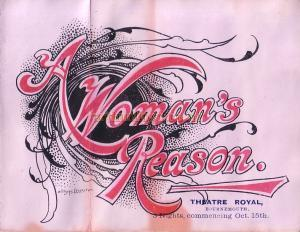 Programme for 'A Woman's Reason at the Theatre Royal, Bournemouth 1890s