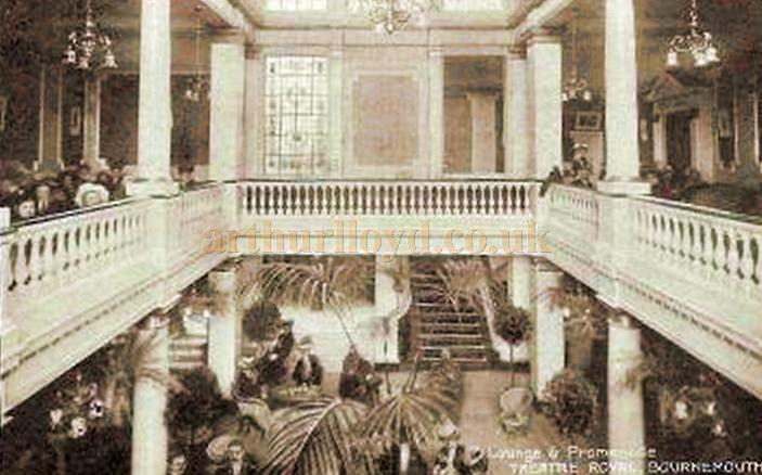 An early postcard depicting the Lounge and Promenade of the Theatre Royal, Bournemouth