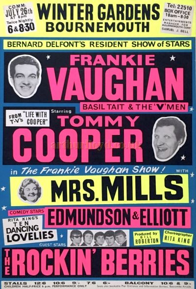 A Variety Poster for the Bournemouth Winter Gardens featuring Frankie Vaughan, Tommy Cooper and Mrs. Mills amongst others - Courtesy Chris Woodward.