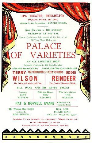 Flyer for 'Palace of Varieties' at the Spa Theatre Bridlington. Year Unknown.