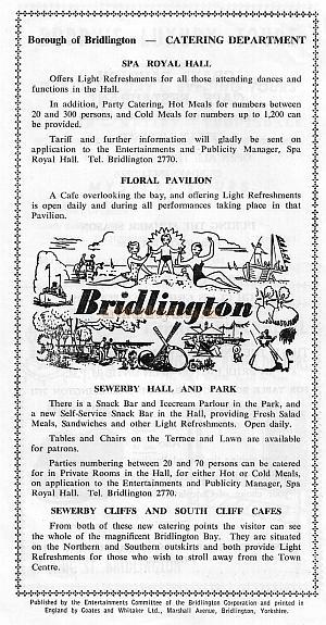 Page from the 'Palace of Varieties' programme at the Spa Theatre Bridlington with details of attractions.
