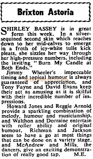 A cutting from The Stage on Shirley Bassey's performance at the Brixton Astoria in October 1957.