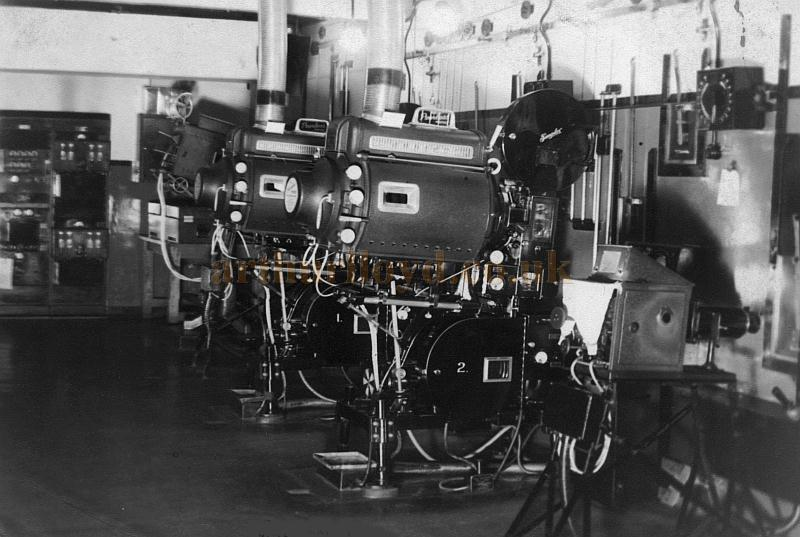 The Projection Room at the Brixton Astoria in the late 1940s - Courtesy Philip Dansie, whose father, Don Dansie, worked at the Theatre for over 50 years as Chief Engineer.