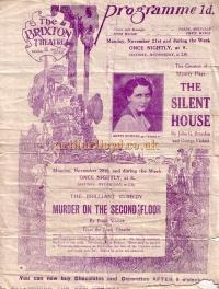 A programme for 'The Silent House' at the Brixton Theatre - Click to see entire programme.