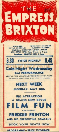 A Bill for the Brixton Empress advertising a 'Gala Night' and the 'Big New Attraction - Film Fun' featuring Freddie Frinton and supporting cast - Courtesy Maurice Poole.