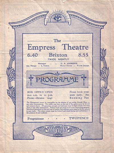 A Variety programme for the Empress Theatre, Brixton for the week commencing 29th September 1930.