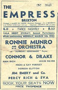 Variety Programme for the Empress Theatre, Brixton in February 1945 - Courtesy Alan Chudley.
