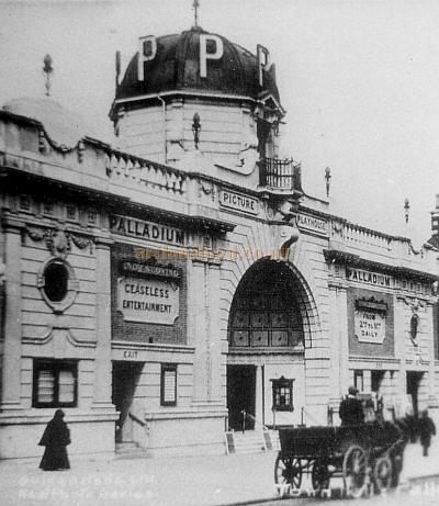 Detail from the Real Photograph shown above of the Palladium Picture Playhouse, Brixton with its original Baroque Frontage in 1914, just a year after it opened. The Cinema is advertising 'Ceasless Entertainment from 2 to 11pm Daily.