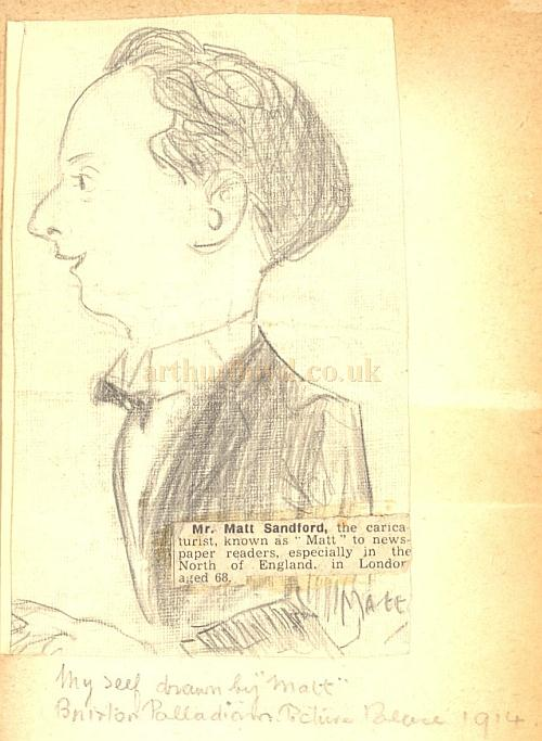 A caricature by Matt Sandford of an unknown pianist at the Brixton Palladium Picture Playhouse in 1914 - Courtesy Mark Taylor