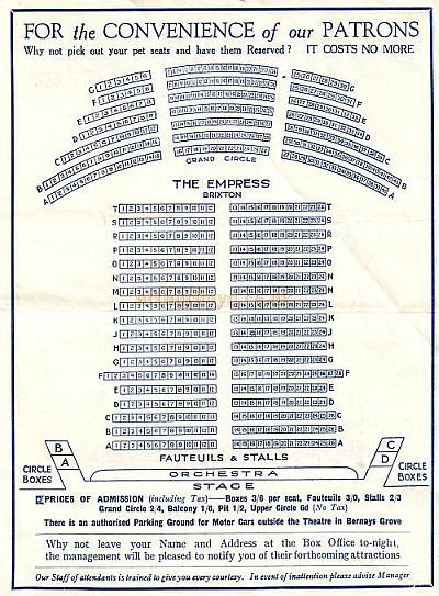 Seating Plan for the Empress Theatre, Brixton, from a Variety Programme for the week commencing 29th September 1930.
