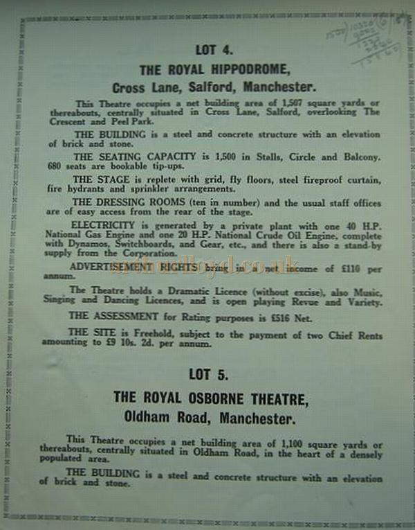 The auction Catalogue for the sale of the Broadhead Circuit of Theatres in 1932 - Courtesy K.R.