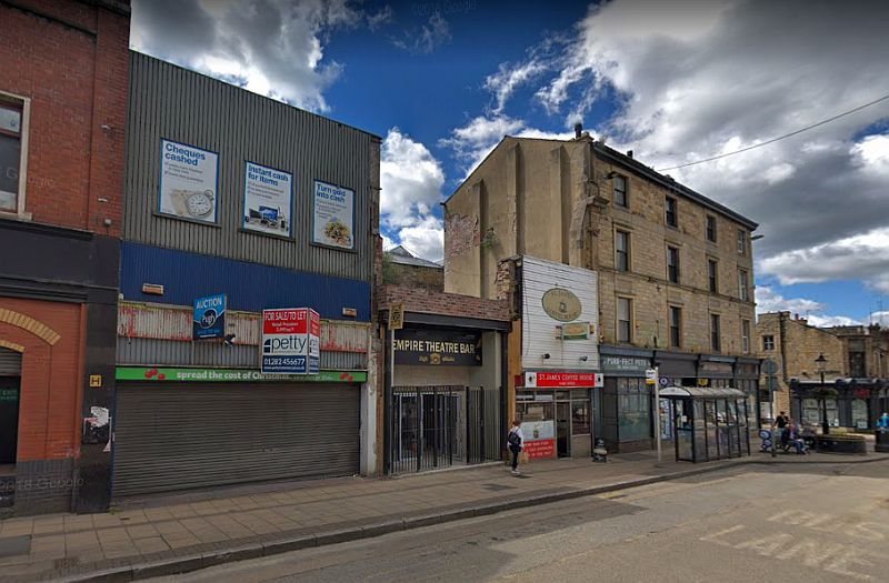 A Google Street View Image of the side elevation of the Empire Theatre, Burnley - Click to Interact.