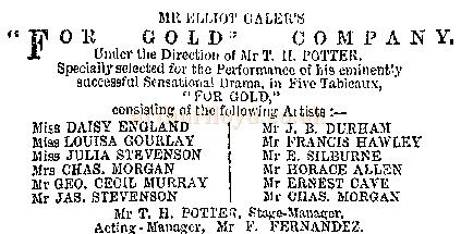 For Gold Company at the Gaiety Theatre, Burnley in 1887