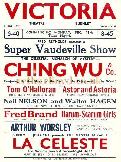 A Poster advertising a 'Super Vaudeville Show' at the Victoria Theatre, Burnley - Courtesy Chris Woodward.