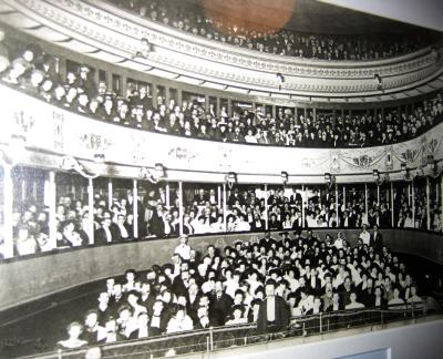 The auditorium of the Theatre Royal, Bury St. Edmunds from a photograph which hangs in the Theatre's Foyer - Courtesy David Garratt.