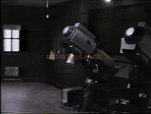 The unusually large Followspot Box at the Cambridge Theatre during the run of 'Return To The Forbidden Planet', this was also used as a projection booth when the Theatre was in Cinema use. Photo taken in 1989 - M. L.