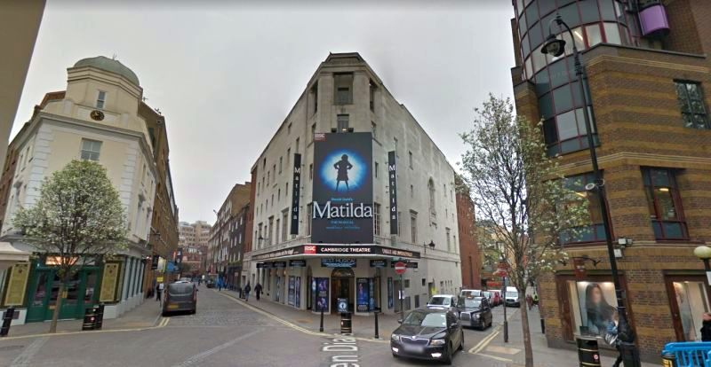 A Google StreetView Image of Seven Dials and the Cambridge Theatre today - Click to Interact.