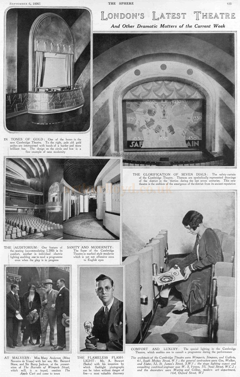 A Full Page Article on the new Cambridge Theatre - From The Sphere, 6th September 1930.