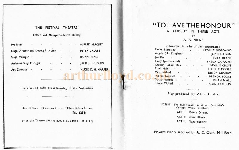 A Programme for the Cambridge Repertory Players' production of 'To Have The Honour' at the Festival Theatre, Cambridge in 1934.