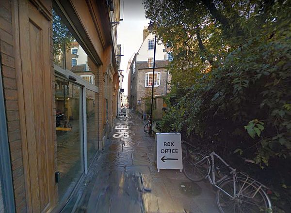 A Google StreetView Image of the Main Entrance to the Cambridge Arts Theatre in St Edward's Passage - Click to Interact.