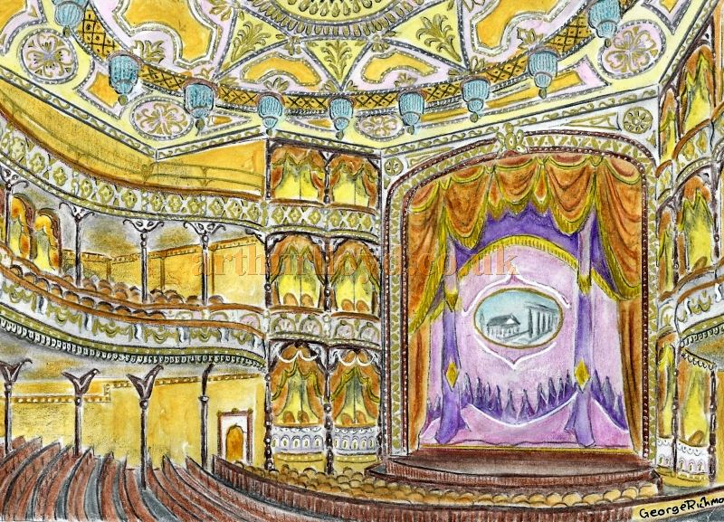 A Painting of the Auditorium and Stage of J. T. Robinson's Royal Alexandra Theatre, Camden - Courtesy George Richmond, March 2018.