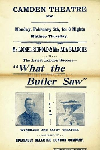 A flyer for 'What the Butler Saw' with Lionel Rignold and Ada Blanche at the Camden Theatre in the early 1900s - Courtesy Roland Nedd.
