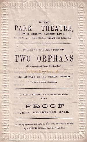 Programme for 'Two Orphans' at the Royal Park Theatre, Camden for the week beginning March the 24th 1879.