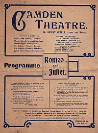 A programme for 'Romeo and Juliet' at the Camden Theatre in 1905 - Click to see the entire programme.