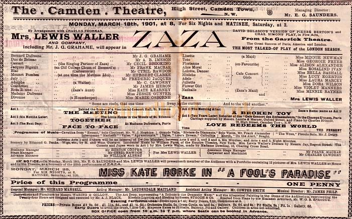 A Programme for 'Zaza' at the newly opened Camden Theatre for March the 18th 1901